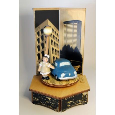 carillon bimba bambina, per nascita, battesimo, compleanno, 500 macchina legno e ceramica
