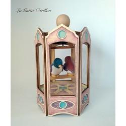 carillon giostra uccellino in altalena, regalo per battesimo nascita compleanno. da collezione in legno e ceramica.