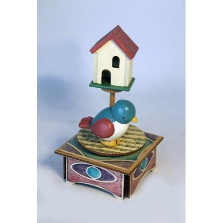 carillon da collezione legno uccellino e casetta, nido d'amoreo