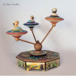 carillon giostra per bambini e bimbi in legno e ceramica. Regalo per compleanno, nascita e battesimo. GIOSTRA CIGNI