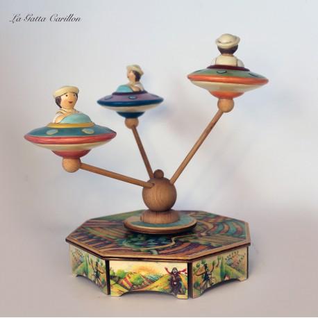 carillon DISCHI VOLANTI giostra per bambini e bimbi in legno e ceramica. Regalo per compleanno, nascita e battesimo.