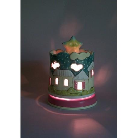 carillon lampada bimba e bimbo, per bambini neonati. Regalo per battesimo o nascita. Con la neve