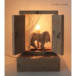 CANE carillon lampada da collezione, in legno ricilato.regalo anniversario, inaugurazione, laurea o altre occasioni