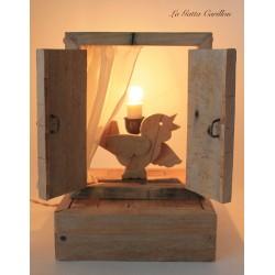 UCCELLINO carillon lampada da collezione, in legno ricilato.regalo anniversario, inaugurazione, laurea o altre occasioni