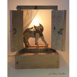 GATTO carillon lampada da collezione, in legno ricilato.regalo anniversario, inaugurazione, laurea o altre occasioni