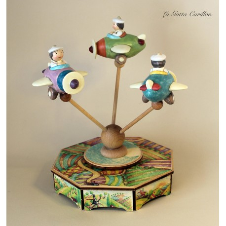 carillon AEROPLANI giostra per bambini e bimbi in legno e ceramica. Regalo per compleanno, nascita e battesimo.
