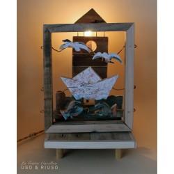 Faro gabbiani e barca, carillon lampada da collezione, in legno ricilato. regalo anniversario, inaugurazione, laurea o altre occ