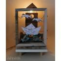 FARO, BARCA E GABBIANI, lampada carillon in legno