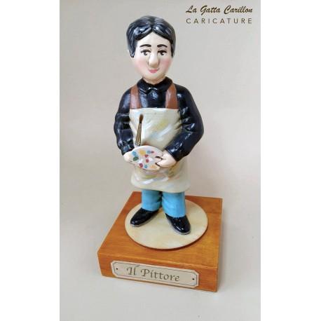 caricatura il pittore carillon da collezione pittore, regalo professionisti hobbisti