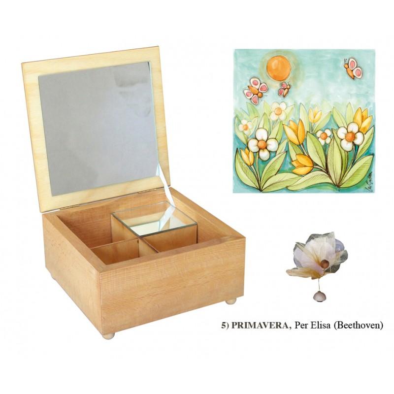 Carillon in legno portagioie scatola media magnetico - Carillon portagioie bambina ...