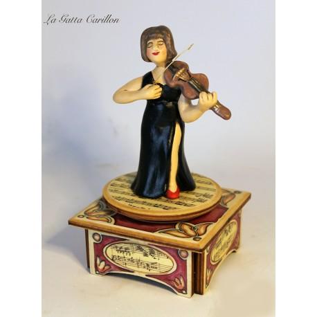 carillon musicista di VIOLINO,VIOLINISTA DONNA, carillon da collezione