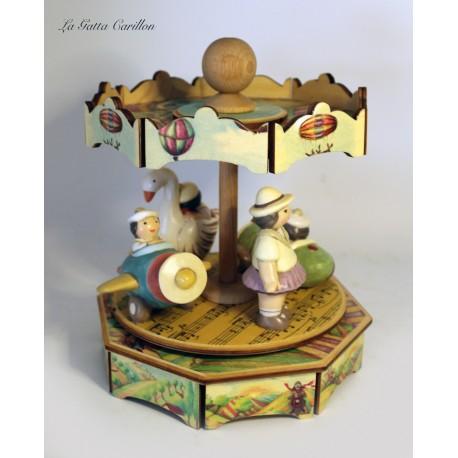 carillon GIOSTRA VARIETA' BIMBA giostra per bambini e bimbi in legno e ceramica. Regalo per compleanno, nascita e battesimo.