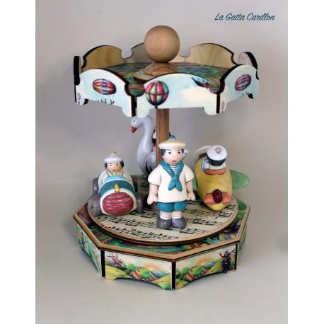 carillon GIOSTRA VARIETA' BIMBO giostra per bambini e bimbi in legno e ceramica. Regalo per compleanno, nascita e battesimo.
