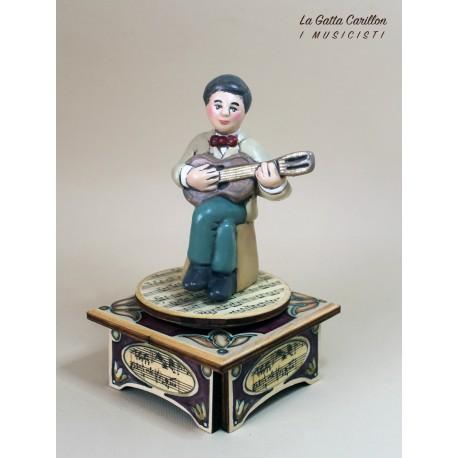 carillon chitarrista, musicista di chitarra, carillon da collezione