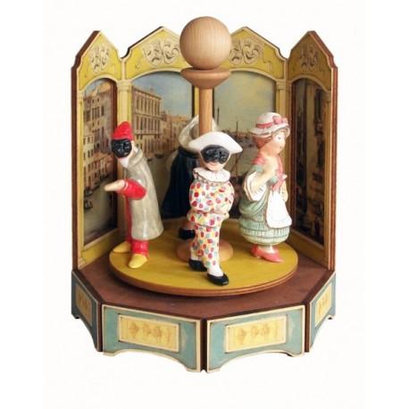 carillon da collezione commedia maschere teatro. in legno e ceramica, Balanzone, Pantalone, Colombina e Arlecchino. MASCHERE GIO