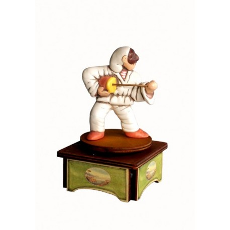 carillon da collezione Pulcinella. maschere Napoli a teatro. in legno e ceramica. PULCINELLA E CACCAVELLA