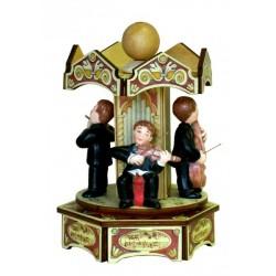 carillon musicisti, carillon giostra da collezione in legno e ceramica, teatro, opera conservatorio.