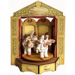 carillon da collezione giostra legno PULCINELLA A TEATRO