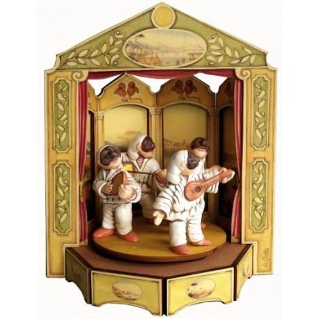 carillon da collezione Giostra Pulcinella. maschere Napoli a teatro. in legno e ceramica. PULCINELLA A TEATRO