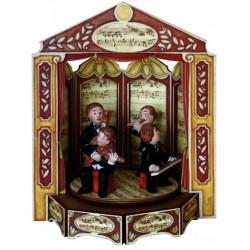 carillon musicisti, giostra in legno, teatro o opera