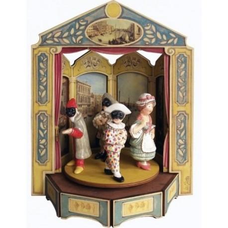 carillon da collezione maschere teatro. in legno e ceramica, Balanzone, Pantalone, Colombina e Arlecchino. MASCHERE GIOSTRS