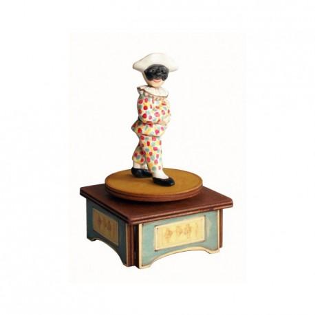 carillon da collezione commedia maschere teatro. in legno e ceramica. ARLECCHINO