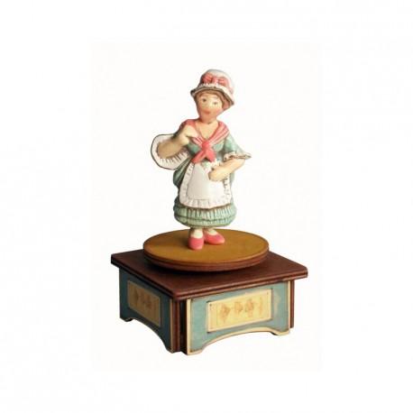 carillon da collezione commedia maschere teatro. in legno e ceramica. COLOMBINA